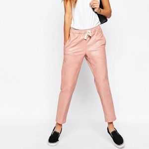 ASOS Pink Leather Look Joggers